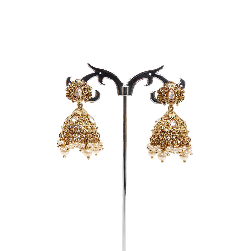 Small Antique Jhumka Earrings in Pearl