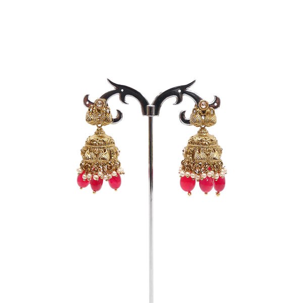 Swan Jhumka Earrings in Ruby