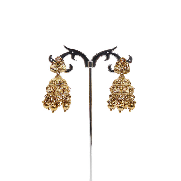 Swan Jhumka Earrings in Antique Gold