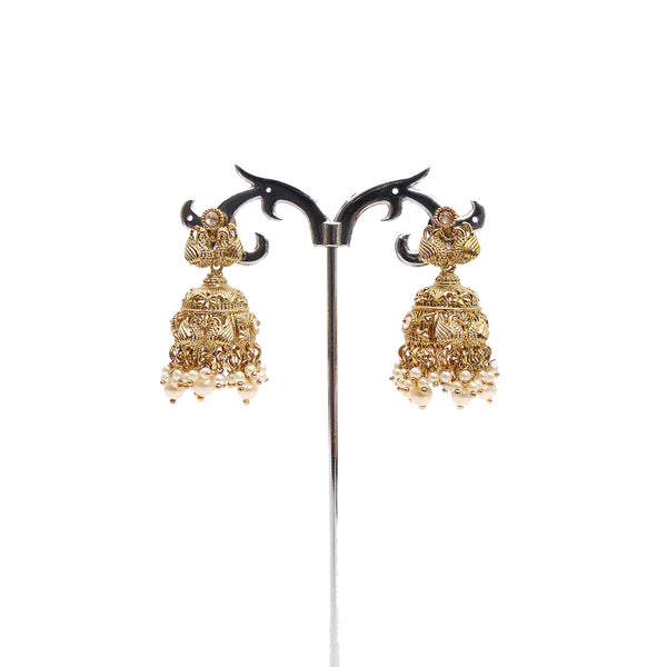 Swan Jhumka Earrings in Pearl