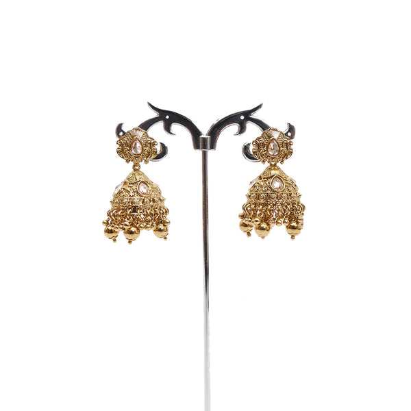 Small Antique Jhumka Earrings in Antique Gold