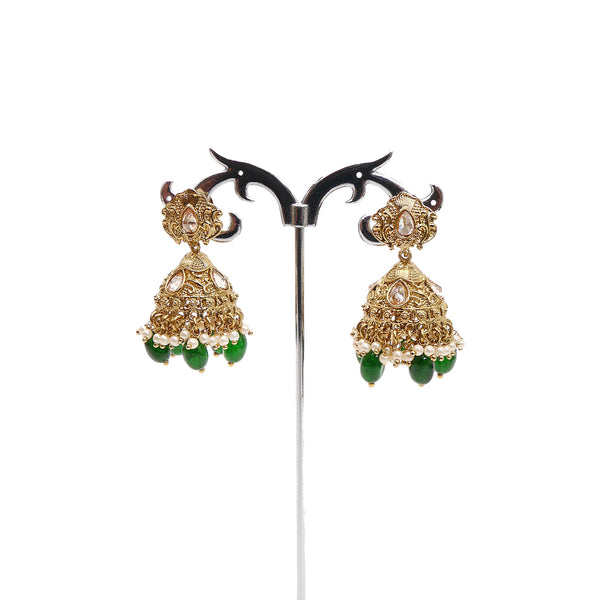 Small Antique Jhumka Earrings in Emerald