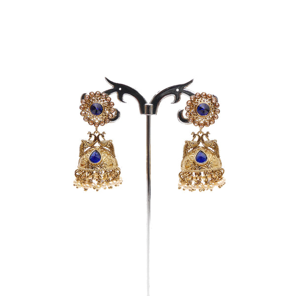 Peacock Jhumka Earrings in Blue