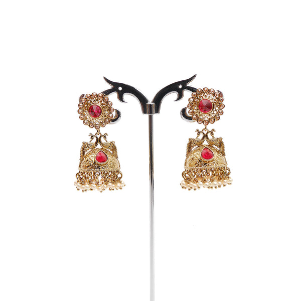 Peacock Jhumka Earrings in Red