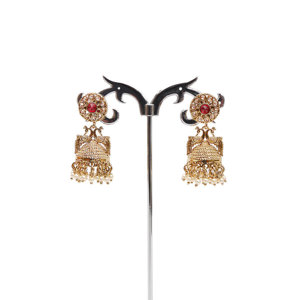 Peacock Red Jhumka Earrings in Pearl