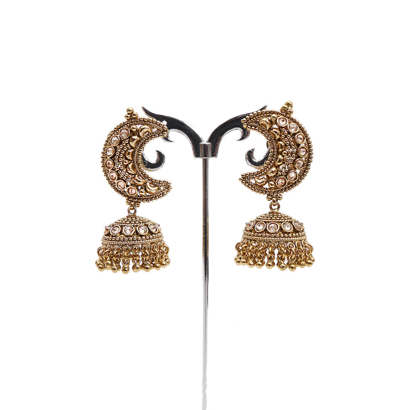 Chaand Jhumka Earrings in Antique Gold