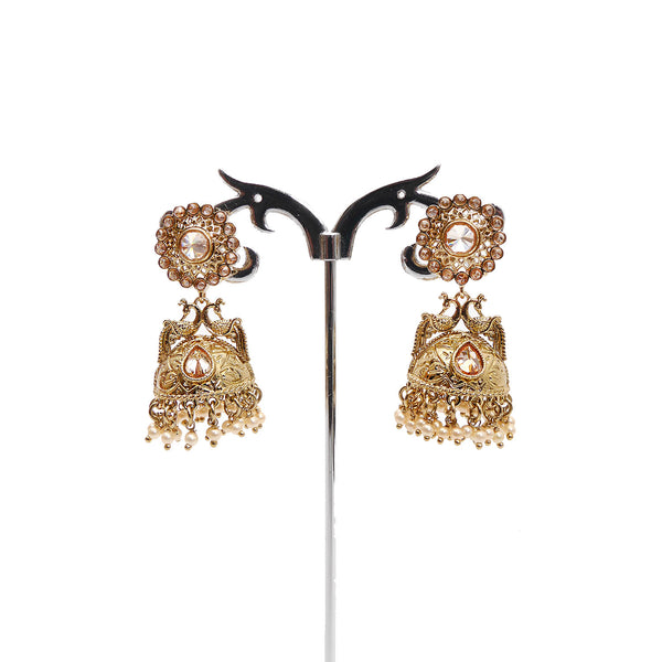 Peacock Jhumka Earrings in Champagne