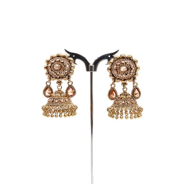 Megha Jhumka Earrings in Antique Gold