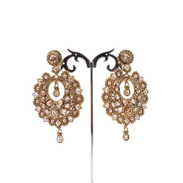 Arya Chandbali Earrings in Pearl and Antique Gold