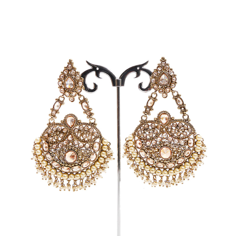 Chandelier Pearl and Antique Gold Earrings