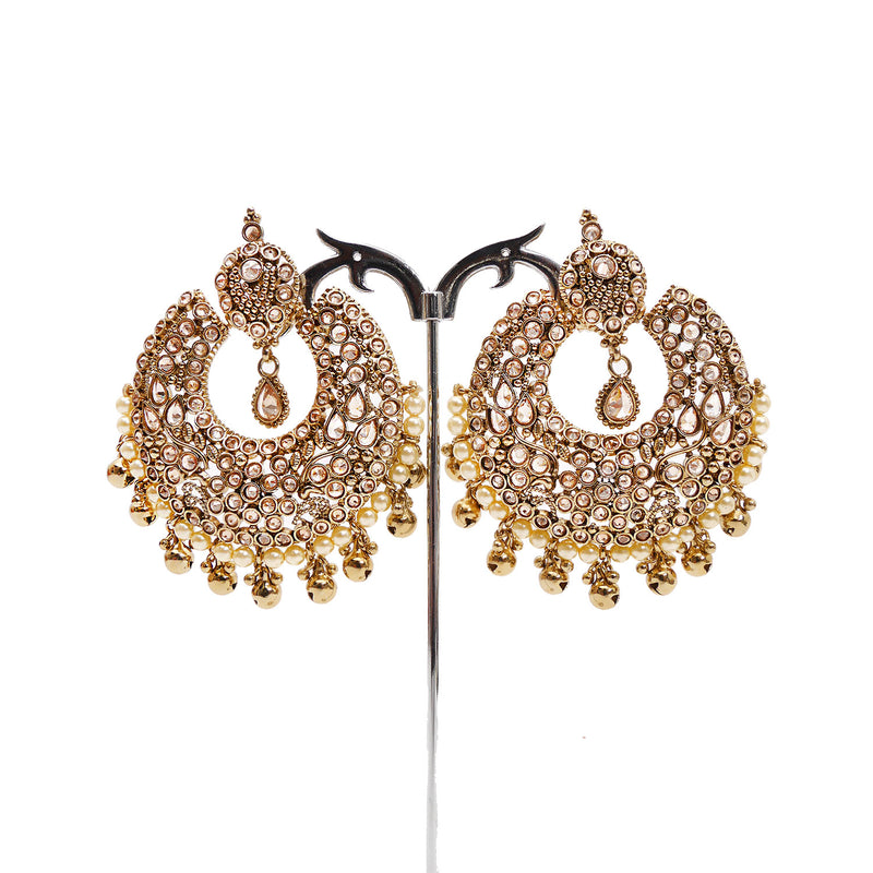 Saira Chandbali Earrings in Antique Gold