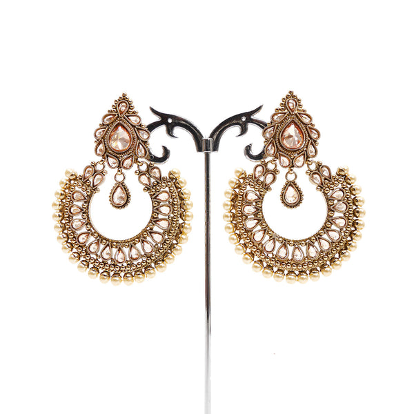 Mina Chandbali Earrings in Pearl and Antique Gold