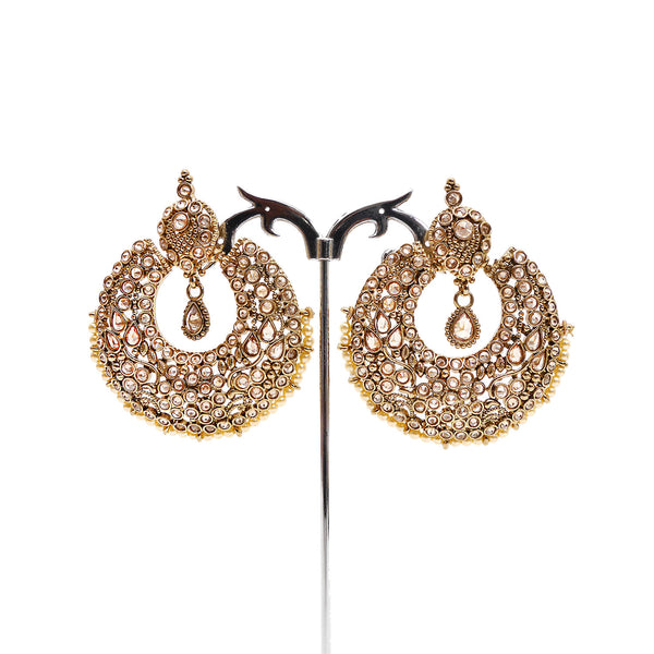 Rutvi Chandbali Earrings in Pearl and Antique Gold