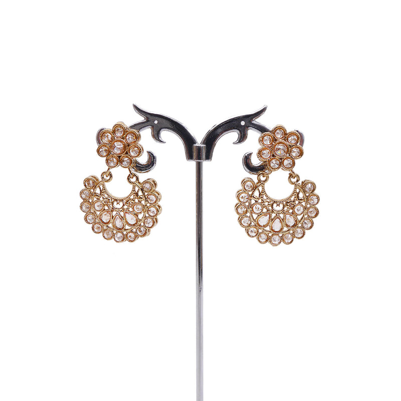 Aila Chandbali Earrings in Antique Gold