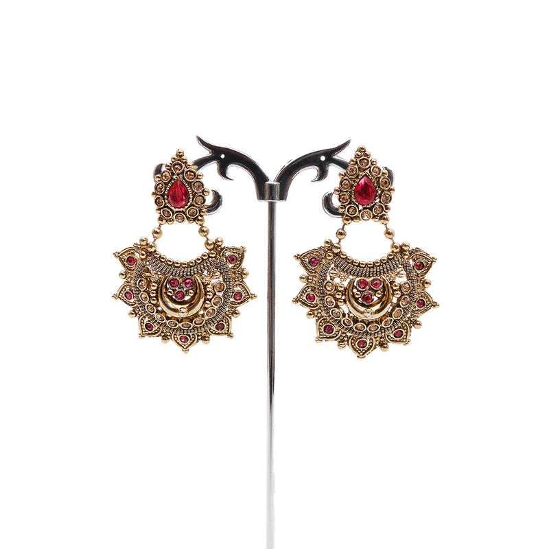 Lekha Chandbali Earrings in Pink