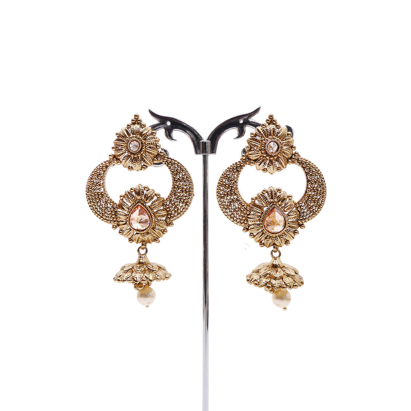 Antique Cluster Ball Jhumka Earrings in Pearl