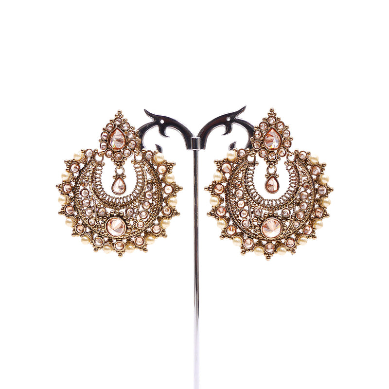 Antique Gold and Pearl Chandbali Earrings