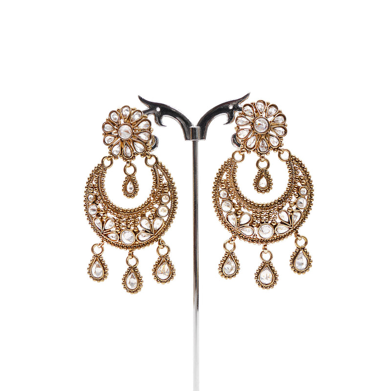 Aadhya Chandbali Earrings in White