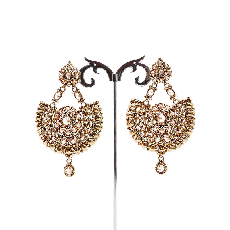Daisy Chandbali Earrings in Antique Gold