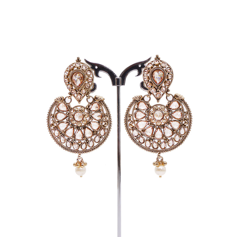Chakra Chandbali Earrings in Antique Gold