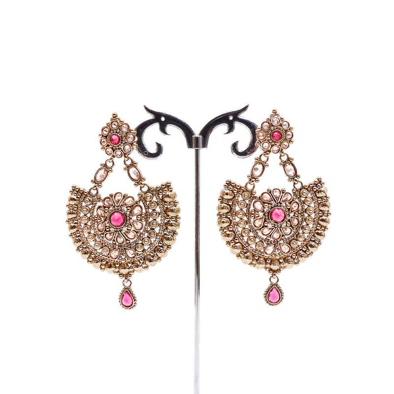 Daisy Chandbali Earrings in Ruby