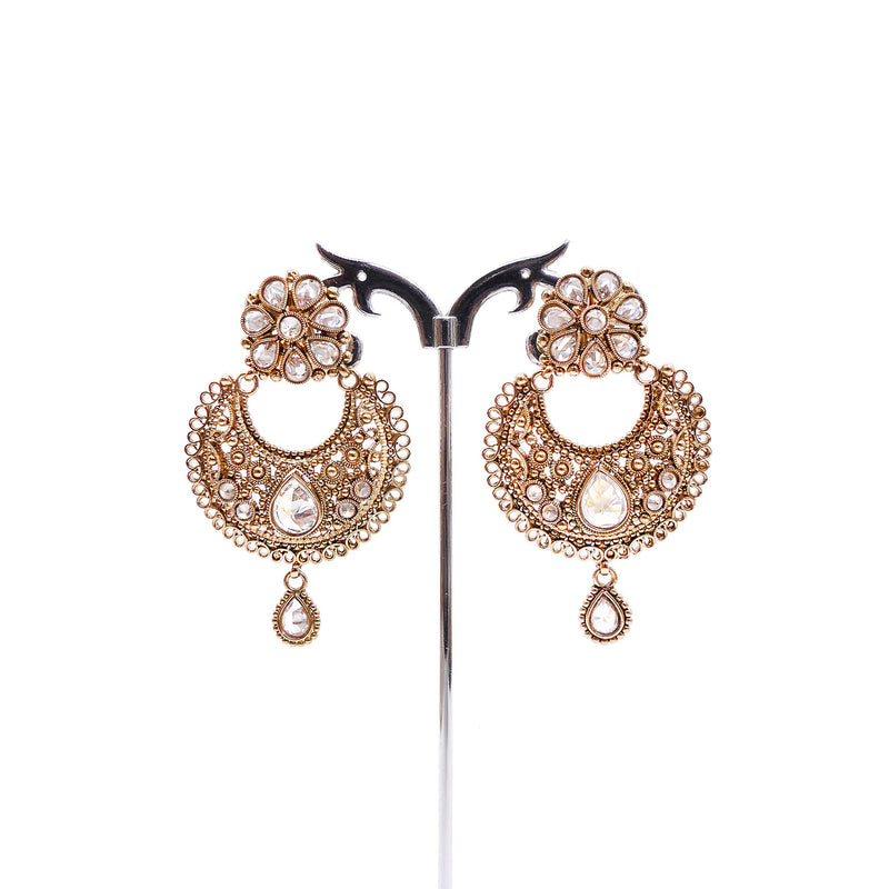 Tanisha Chandbali Earrings in Antique Gold