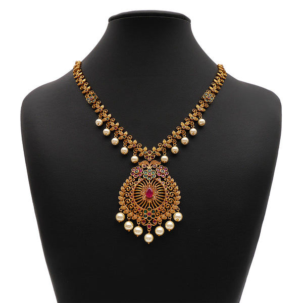 Arasi South-Indian Necklace Set in Ruby and Emerald
