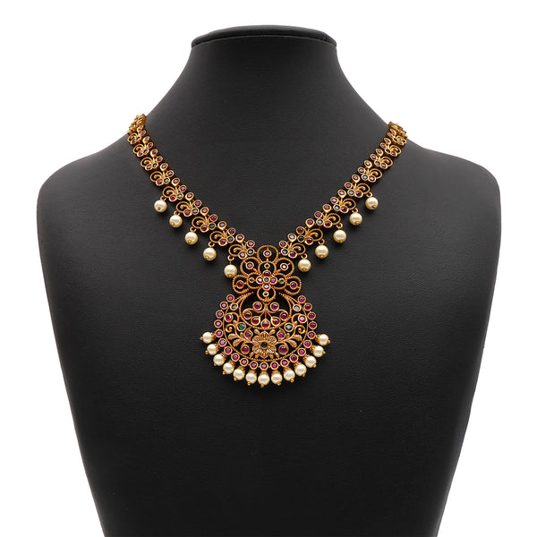 Bhavi South-Indian Necklace Set in Emerald and Ruby