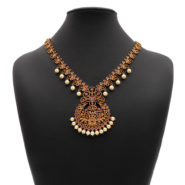 Bhavi South-Indian Necklace Set in Ruby