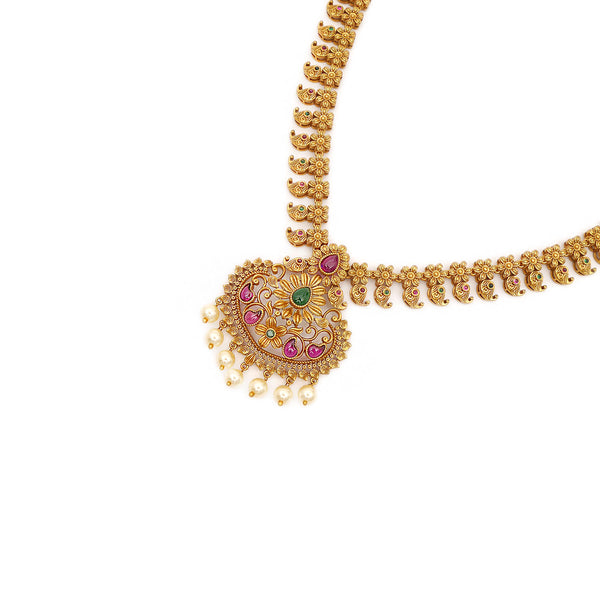Dhruvi South-Indian Necklace Set in Emerald and Ruby