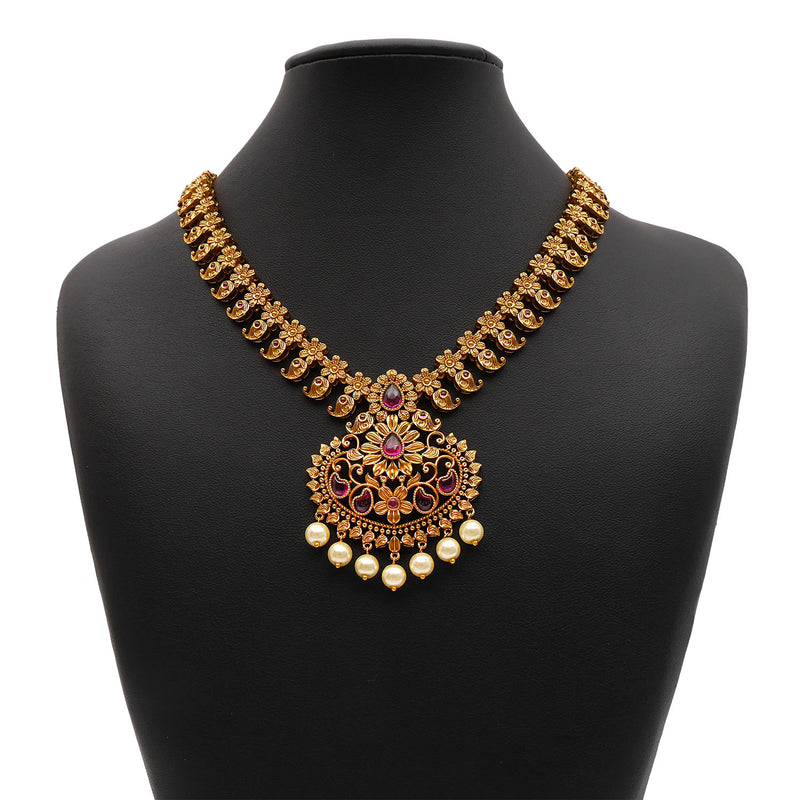 Dhruvi South-Indian Necklace Set in Ruby