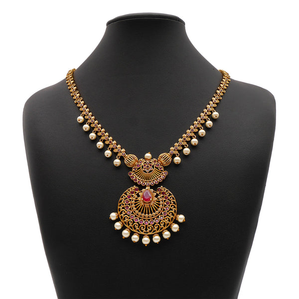 Eshwa South-Indian Necklace Set in Ruby