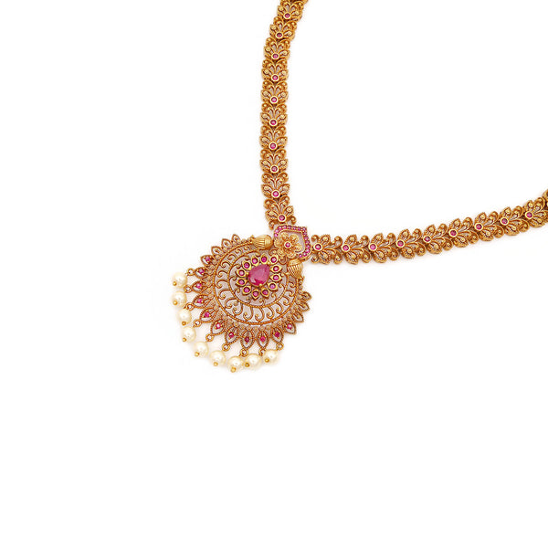 Kanaya South-Indian Necklace Set in Ruby
