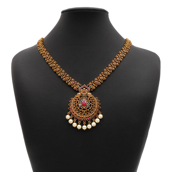 Kanaya South-Indian Necklace Set in Emerald and Ruby