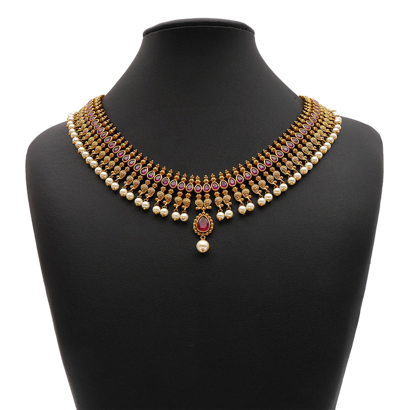Nallini South-Indian Necklace Set in Ruby