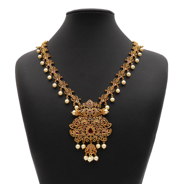 Thanya South-Indian Necklace Set in Ruby