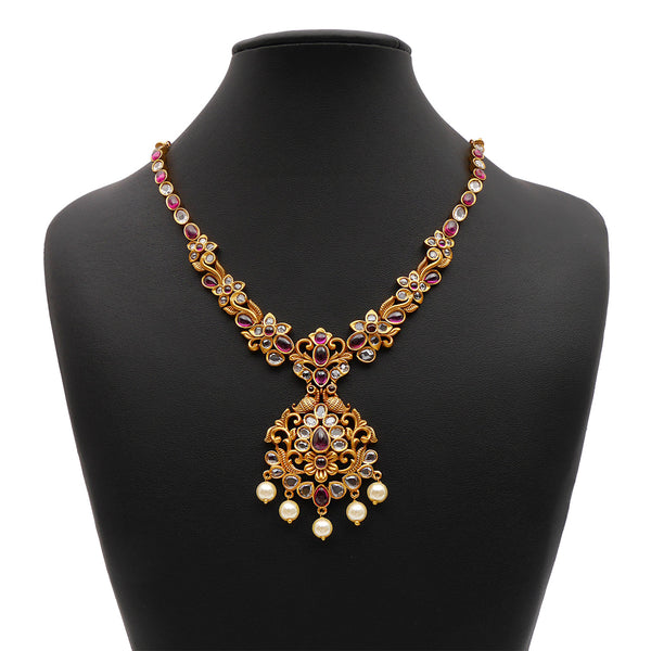 Darshini South-Indian Necklace Set in Ruby and White