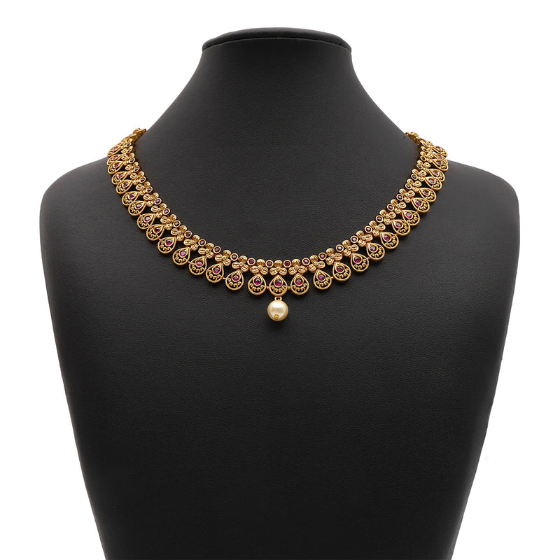 Himani South-Indian Necklace Set in Ruby