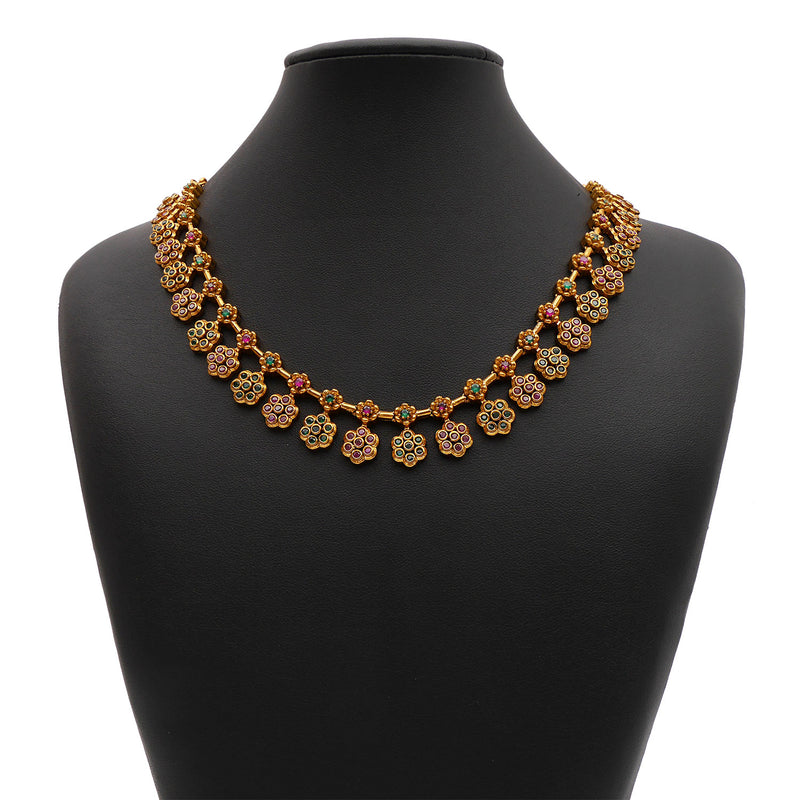 Jahnavi South-Indian Necklace Set in Ruby and Emerald