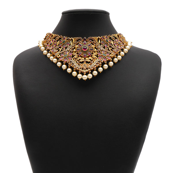 Lalita South-Indian Choker Set in Emerald and Ruby