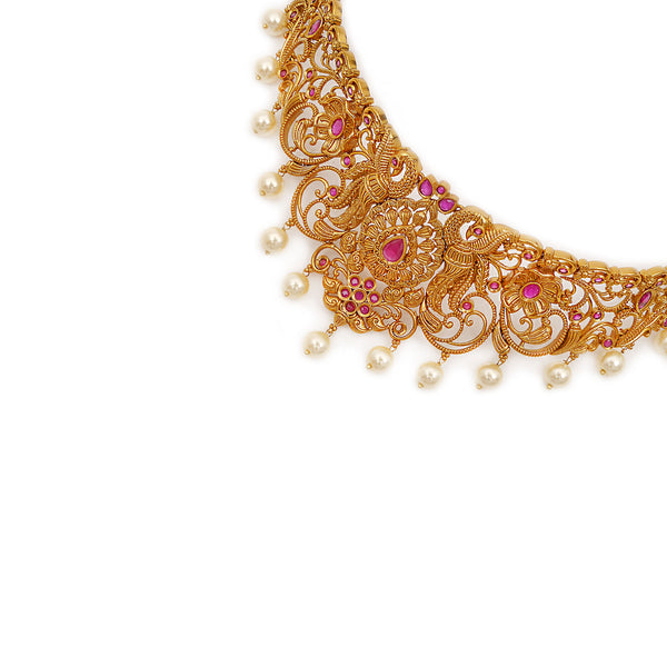 Marisa South-Indian Choker Set in Ruby