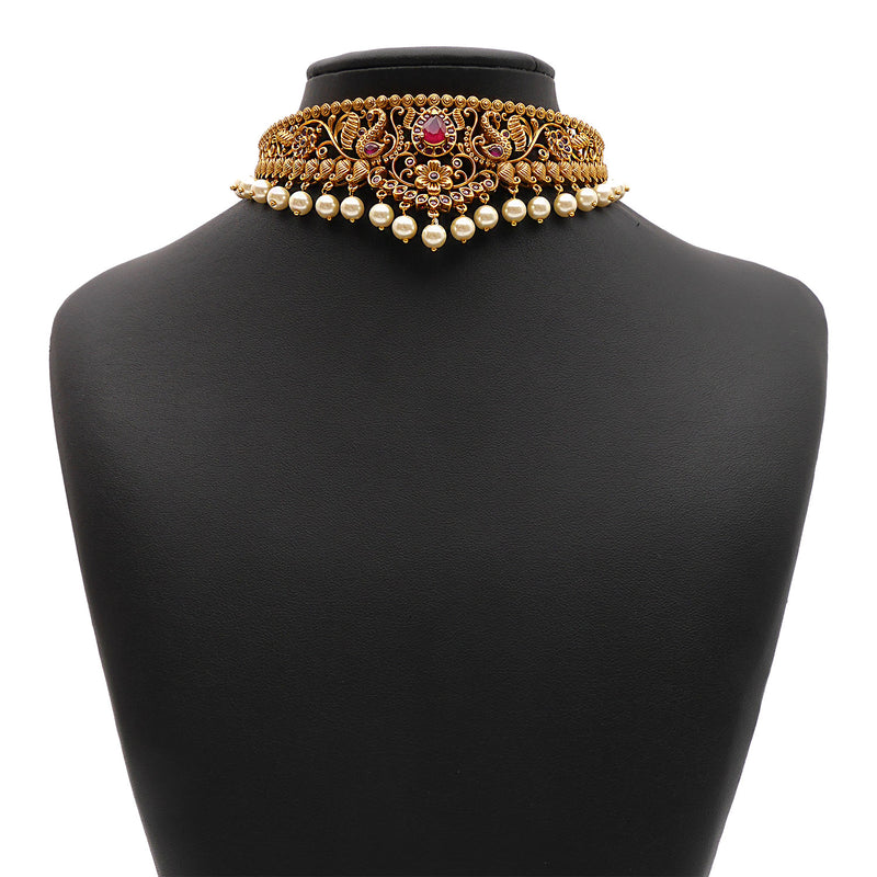 Nupoor South-Indian Choker Set in Ruby