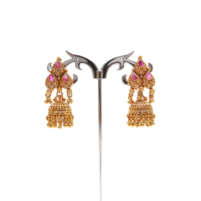 Ragini South-Indian Long Necklace Set in Ruby