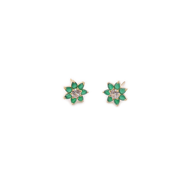 Tulip Cubic Zirconia Studs in Green