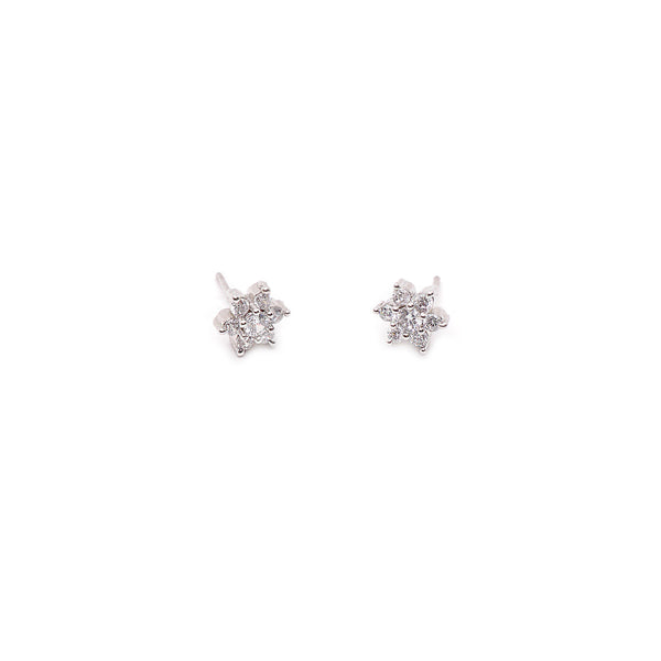 Grace Cubic Zirconia Studs in Rhodium