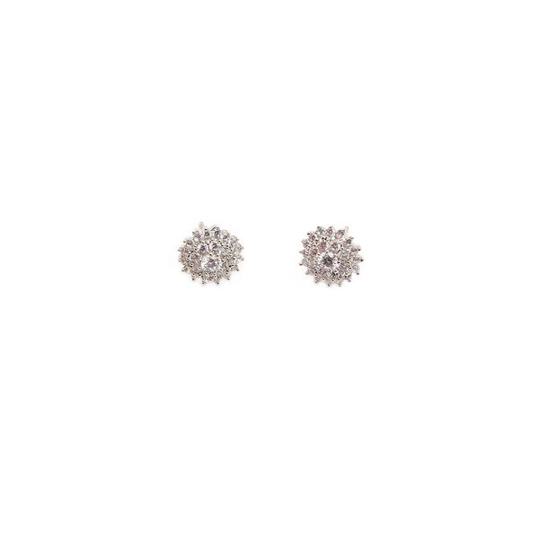 Carnation Cubic Zircon Studs in Rhodium