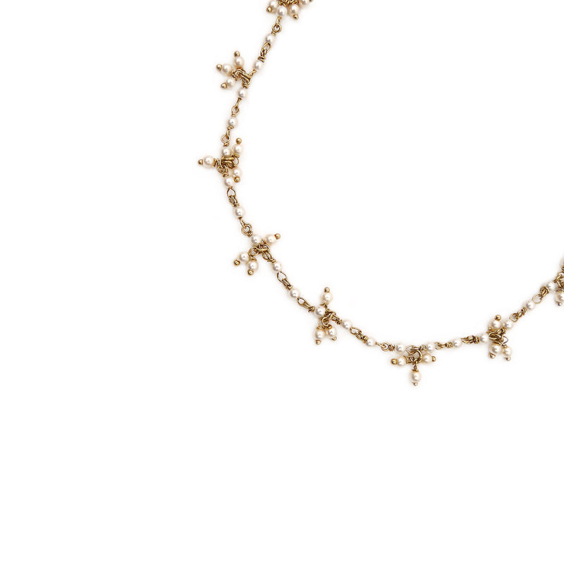 Ladli Pearl Anklet in Antique Gold