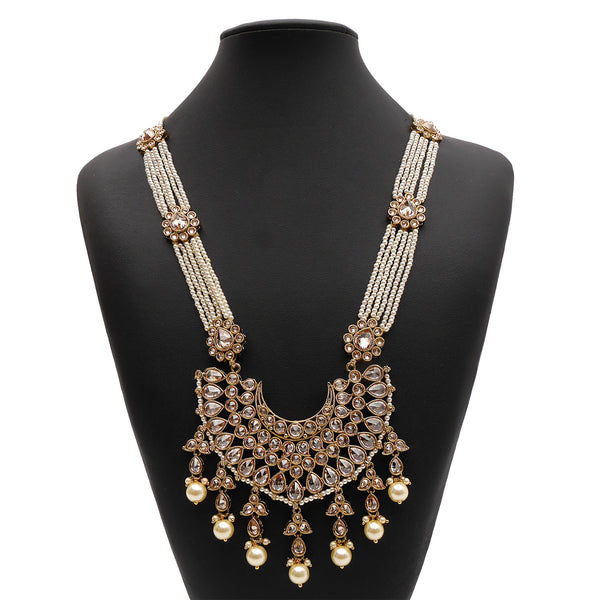Gauri Long Necklace in Pearl and Antique Gold