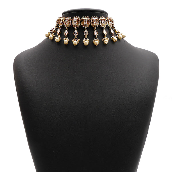 Veda Choker Set in Pearl and Antique Gold
