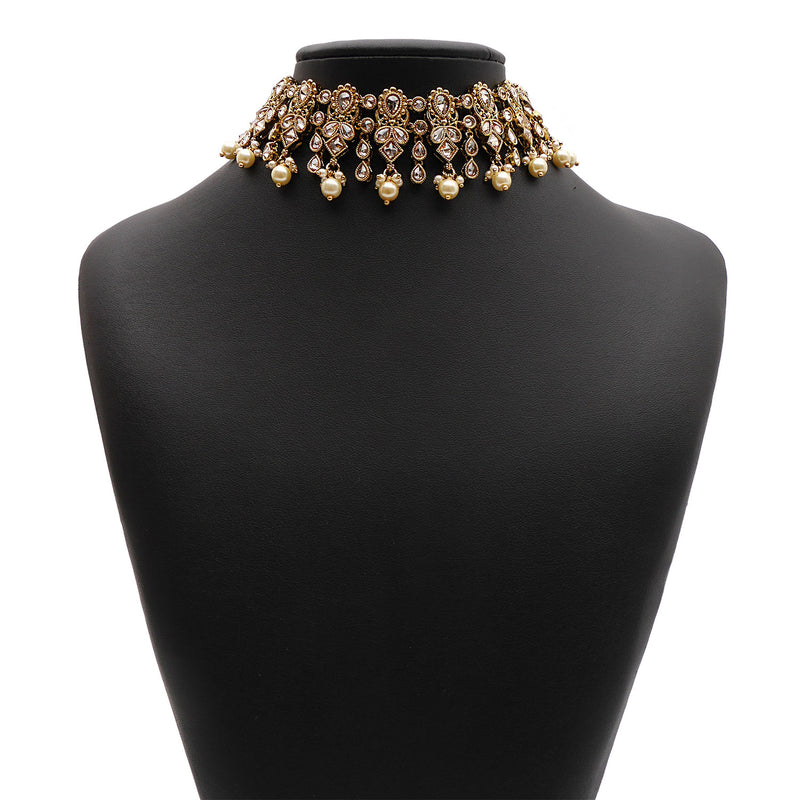 Adira Choker Set in Pearl and Antique Gold